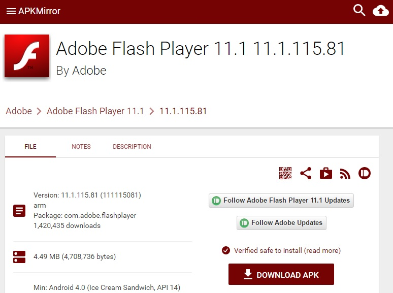 flash player apk android 5